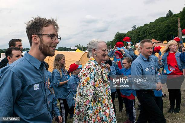 Queen Margrethe pays a visit to FDF summer camp in Ry Denmark on July 7 2016 The Queen and her entourage which includes Foreign Minister Kristian...