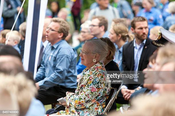 Queen Margrethe pays a visit to FDF summer camp in Ry Denmark on July 7 2016 On the photo the Queen was special guest to the opening of the camps...