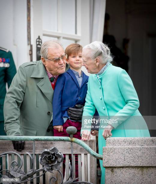 Queen Margrethe Prince Henrik and Prince Vincent of Denmark attend the 77th birthday celebrations of Danish Queen Margrethe at Marselisborg Palace on...