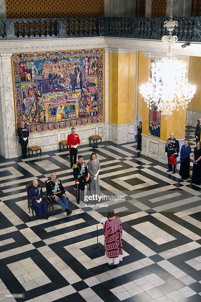 Queen Margrethe, Prince Henrik, Crown Prince Frederik, and <a gi-track='captionPersonalityLinkClicked' href=/galleries/search?phrase=Crown+Princess+Mary+of+Denmark&family=editorial&specificpeople=158374 ng-click='$event.stopPropagation()'>Crown Princess Mary of Denmark</a> attend a New Year's Levee held by Queen Margrethe of Denmark for Diplomats, at Christiansborg Palace on January 3, 2013 in Copenhagen, Denmark.