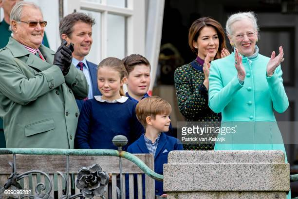 Queen Margrethe Prince Henrik Crown Prince Frederik Crown princess Mary Prince Christian Princess Isabella and Prince Vincent attend the 77th...