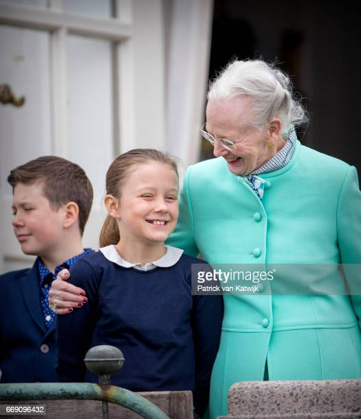 Queen Margrethe Princess Isabella and Prince Christian of Denmark attend the 77th birthday celebrations of Danish Queen Margrethe at Marselisborg...