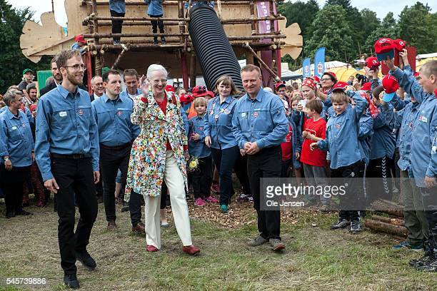 Queen Margrethe takes a tour through FDF summer camp in Ry Denmark on July 7 2016 The Queen and her entourage which includes Foreign Minister...
