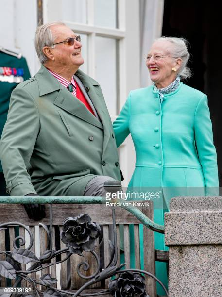 Queen Margrethe with her husband Prince Henrik of Denmark attend her 77th birthday celebrations at Marselisborg Palace on April 16 2017 in Aarhus...