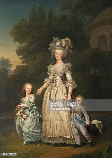 Queen Marie Antoinette of France and two of her Children Walking in The Park of Trianon 1785 Found in the collection of the Nationalmuseum Stockholm