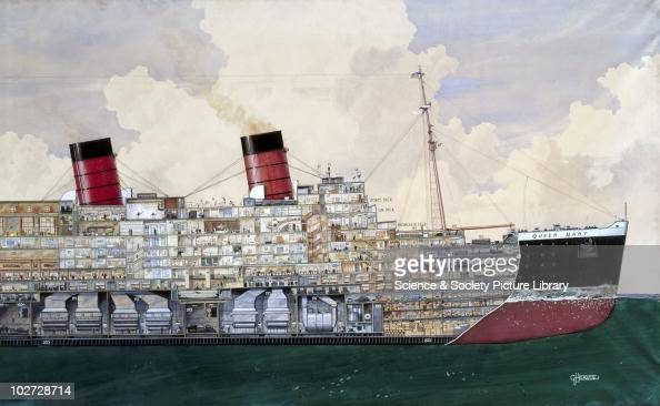 TS 'Queen Mary' 1934 Sectional watercolour drawing by G H Davis showing a cutaway view of the famous transatlantic liner Built at Clydebank for...