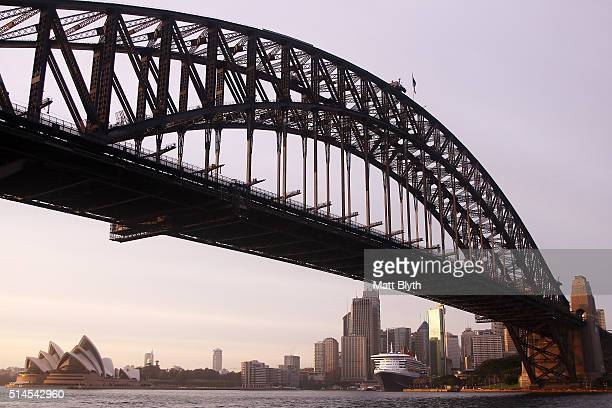 Queen Mary 2 docks at the Overseas Passenger Terminal at Circular Quay on March 10 2016 in Sydney Australia Next year the Queen Mary 2 will make it's...