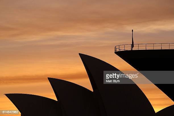 Queen Mary 2 docks at the Overseas Passenger Terminal withthe Sydney Opera House in the background at Circular Quay on March 10 2016 in Sydney...