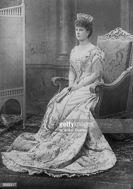 Queen Mary consort of King George V as Princess of Wales at the coronation of her fatherinlaw King Edward VII