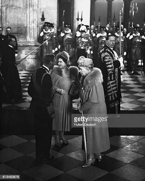 Queen Mary the Queen Mother at the Festival of Britain ceremony with her son King George VI of England and his wife Queen Elizabeth formerly Lady...