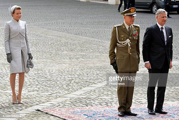 Queen Mathild and King Philippe of Belgium ahead of their meeting with President Giorgio Napolitano on February 19 2014 in Rome Italy King Philippe...