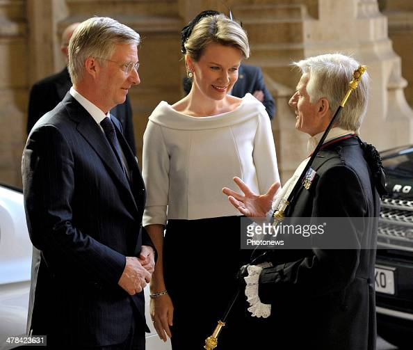 Queen Mathilde and King Philippe of Belgium arrive at Buckingham Palace during an official visit to London on March 13 2014 in London England King...