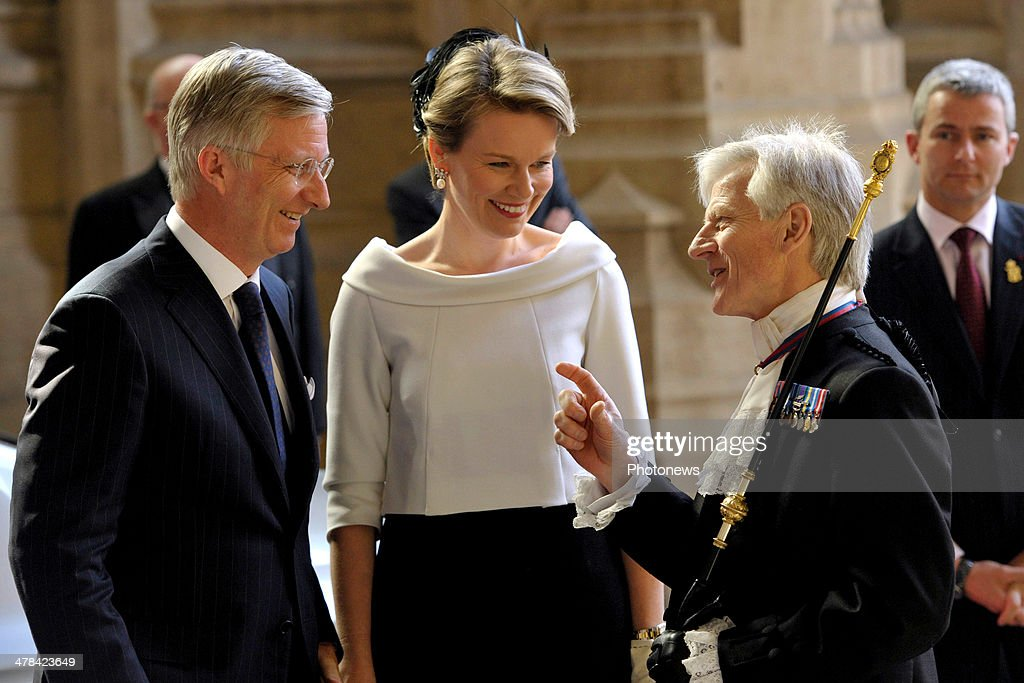 Queen Mathilde and King Philippe of Belgium arrive at Buckingham Palace during an official visit to London on March 13, 2014 in London, England. King Philippe and Queen Mathilde of Belgium are on an official one day trip to London.