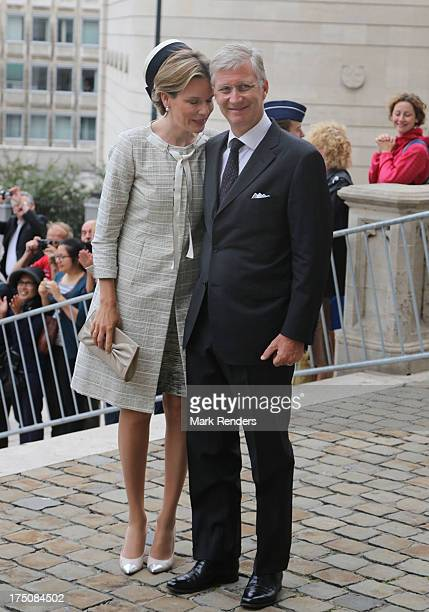Queen Mathilde and King Philippe of Belgium attend a Mass for the 20th anniversary of King Baudouin's death at Cathedrale des SaintsMicheletGudule on...