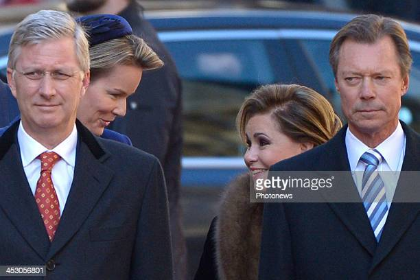 Queen Mathilde and King Philippe of Belgium attend a welcome ceremony hosted by Grand Duke Henri and Grand Duchess Maria Teresa of Luxembourg at...