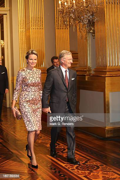 Queen Mathilde and King Philippe of Belgium attend an Autumn Concert at the Royal Palace on October 17 2013 in Brussel Belgium