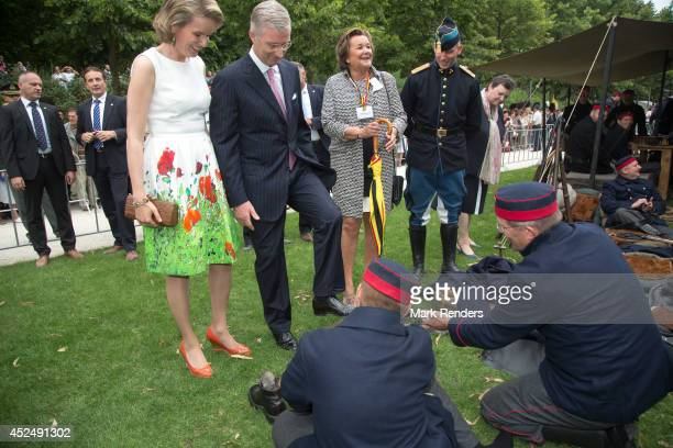 Queen Mathilde and King Philippe of Belgium attend National Day at Place des Palais on July 21 2014 in Brussel Belgium