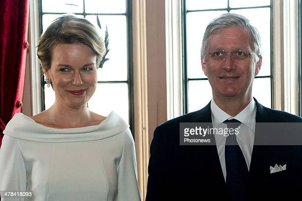 Queen Mathilde and King Philippe of Belgium looks on during an official visit to London on March 13 2014 in London England King Philippe and Queen...