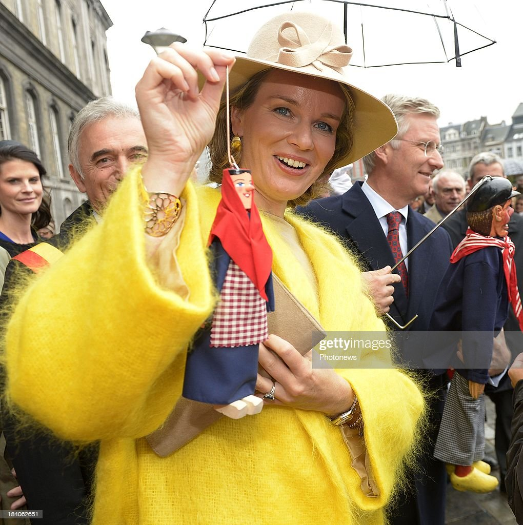 Queen Mathilde and King Philippe of Belgium visit the city of Liege as part of the royal couple's tour of the provinces on October 11, 2013 in Belgium.