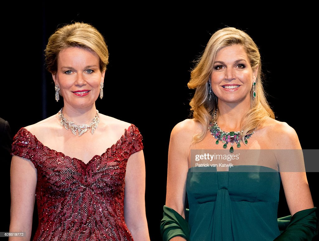 Queen Mathilde and Queen Maxima at the start of the concert offered by the Belgian King in the Muziekgebouw Aan't IJ Amsterdam on November 29, 2016 in The Hague, Netherlands. Vitalis is supported by the Oranje Foundation and guide young vulnerable people