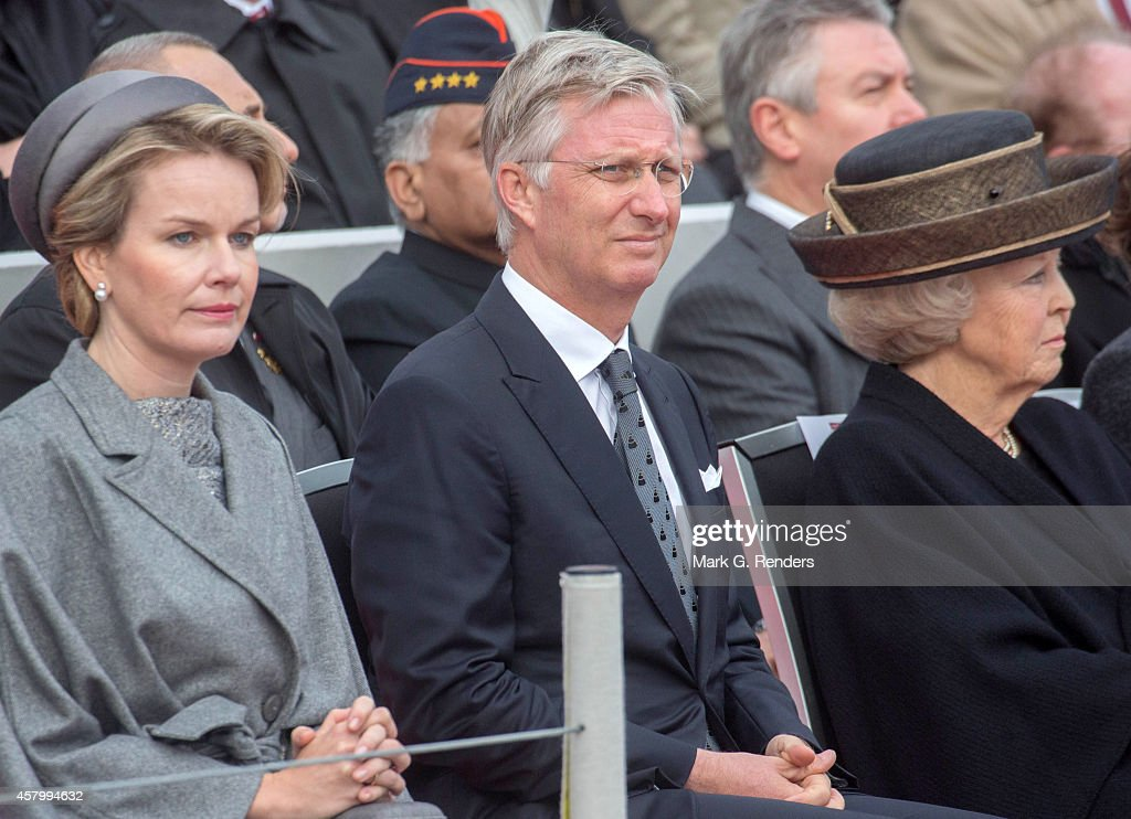 Queen Mathilde, King Philippe of Belgium and Princess Beatrix of The Netherlands attend the Commemoration of the 100th anniversary of WWI on October 28, 2014 in Nieuwpoort, Belgium.