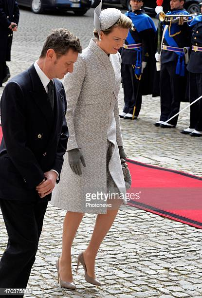 Queen Mathilde of Belgium after a meeting with President Giorgio Napolitano on February 19 2014 in Rome Italy King Philippe and Queen Mathilde of...