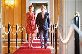 Queen Mathilde of Belgium and King Philippe Filip of Belgium visit the exhibition on science and culture 'Science et culture au Palais' at the Royal...