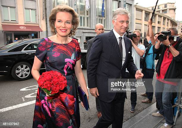 Queen Mathilde of Belgium and King Philippe of Belgium arrive for a prelude concert by the Belgian National Orchestra on the eve of Belgian National...