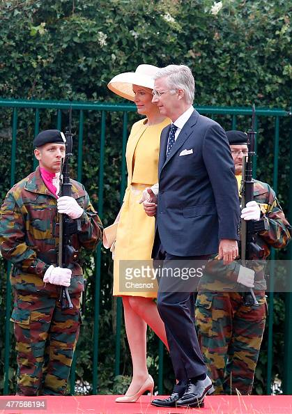 Queen Mathilde of Belgium and King Philippe of Belgium arrive for the Belgian federal government ceremony to commemorate the bicentenary of the...