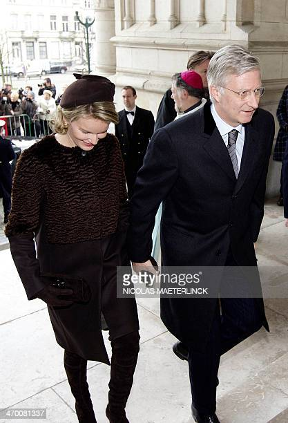 Queen Mathilde of Belgium and King Philippe of Belgium arrive to attend a special mass to commemorate the deceased members of the Belgian Royal...