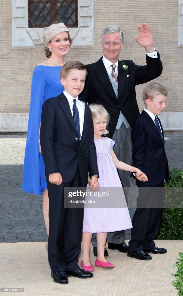 <a gi-track='captionPersonalityLinkClicked' href=/galleries/search?phrase=Queen+Mathilde+of+Belgium&family=editorial&specificpeople=239189 ng-click='$event.stopPropagation()'>Queen Mathilde of Belgium</a> and King <a gi-track='captionPersonalityLinkClicked' href=/galleries/search?phrase=Philippe+of+Belgium&family=editorial&specificpeople=160209 ng-click='$event.stopPropagation()'>Philippe of Belgium</a> arrive with children (from L) Prince Gabriel, Princess Eleonore and Prince Emmanuel at the Wedding Of Prince Amedeo Of Belgium And Elisabetta Maria Rosboch Von Wolkenstein at Basilica Santa Maria in Trastevere on July 5, 2014 in Rome, Italy.