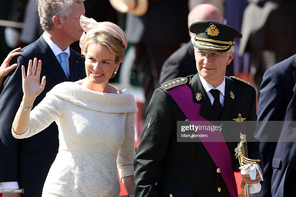 Queen Mathilde of Belgium and King Philippe of Belgium attend the Civil and Military Parade during the Abdication Of King Albert II Of Belgium...