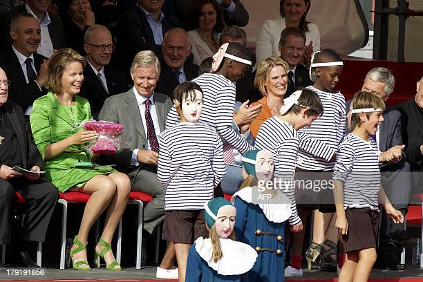 Queen Mathilde of Belgium and King Philippe of Belgium attend the 'Hanswijkcavalcade' and 'Ommegang' historical parades in Mechelen on September 1...