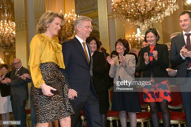 Queen Mathilde of Belgium and King Philippe of Belgium attend the Royal Family New Year wishes during a ceremony held at Brussels' Palace on January...