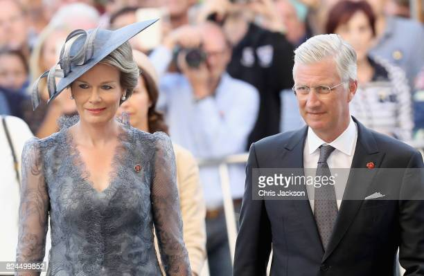 Queen Mathilde of Belgium and King Philippe of Belgium attend the Last Post ceremony which has taken place every night since 1928 at the Commonwealth...