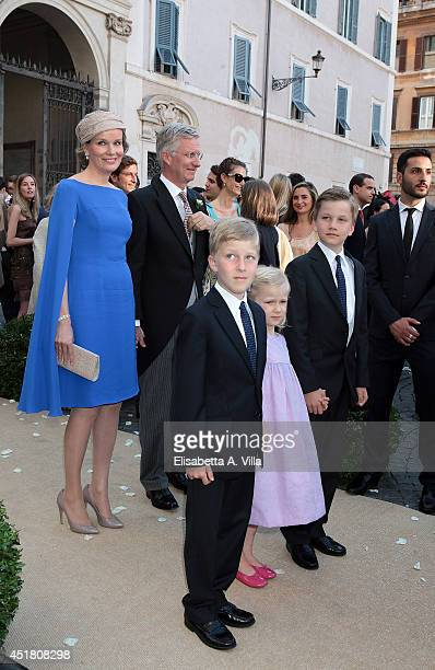 Queen Mathilde of Belgium and King Philippe of Belgium attend with children Prince Emmanuel Princess Eleonore and Prince Gabriel at the wedding of...