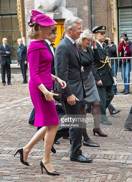 Queen Mathilde of Belgium and King Philippe of Belgium during an official visit to The Netherlands on November 8 2013 in The Hague Netherlands