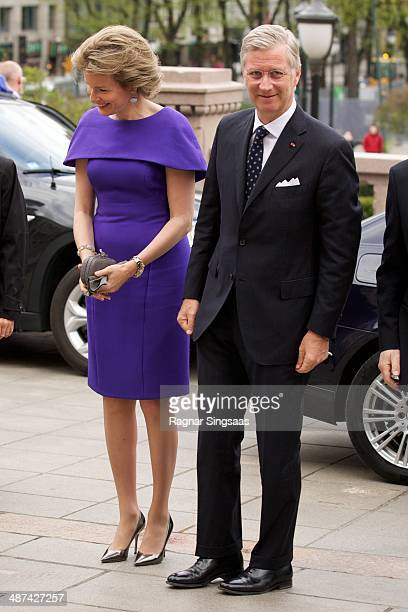 Queen Mathilde of Belgium and King Philippe of Belgium visit the Norwegian parliament Stortinget during an offical visit on April 30 2014 in Oslo...