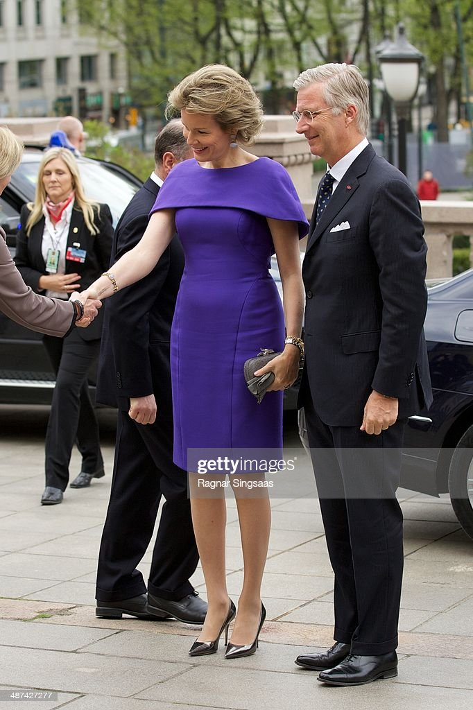 Queen Mathilde of Belgium and King Philippe of Belgium visit the Norwegian parliament Stortinget during an official visit on April 30 2014 in Oslo...