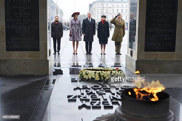 Queen Mathilde of Belgium and King Philippe of Belgium visit the Tomb of the Unknown Soldier as part of official Royal visit in Poland on October 13...