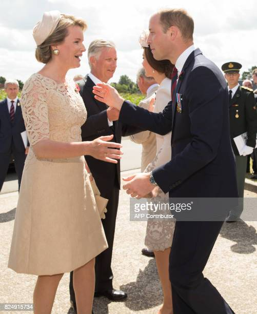 Queen Mathilde of Belgium and King Philippe of Belgium welcome Britain's Prince William and Princess Catherine Duchess of Cambridge at the Tyne Cot...