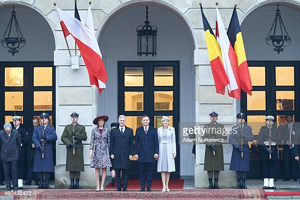 Queen Mathilde of Belgium and King Philippe of Belgium with Polish President Andrzej Duda and Polish First Lady Agata KornhauserDuda attend the...