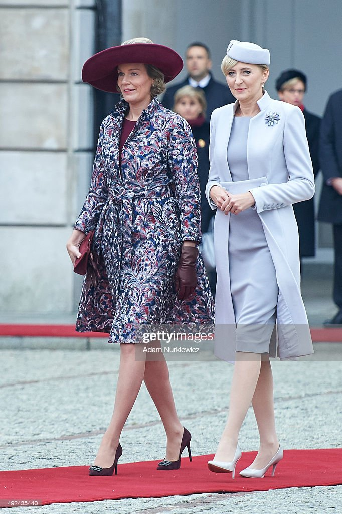 Queen Mathilde of Belgium and Polish First Lady Agata Kornhauser-Duda attend the welcoming ceremony at the Presidential Palace as part of official Royal visit in Poland on October 13, 2015 in Warsaw, Poland.