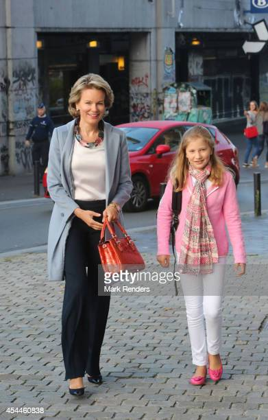 Queen Mathilde of Belgium and Princess Elisabeth Duchess of Brabant arrive at SintJans Berghmanscollege to attend the first of the day of the school...
