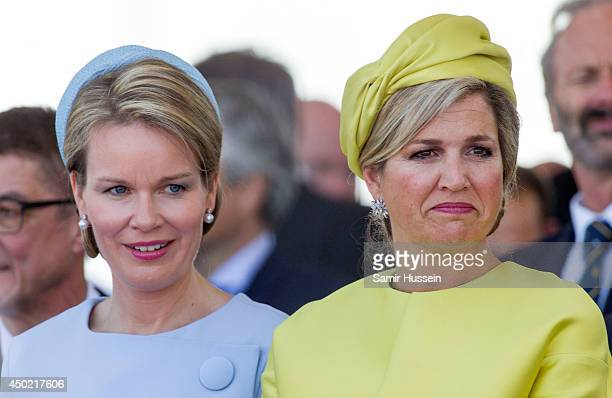 Queen Mathilde of Belgium and Queen Maxima of Holland attend a Ceremony to Commemorate DDay 70 on Sword Beach during DDay 70 Commemorations on June 6...