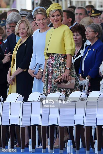 Queen Mathilde of Belgium and Queen Maxima of the netherlands attend the International Ceremony at Sword Beach to commemorate the 70th anniversary of...