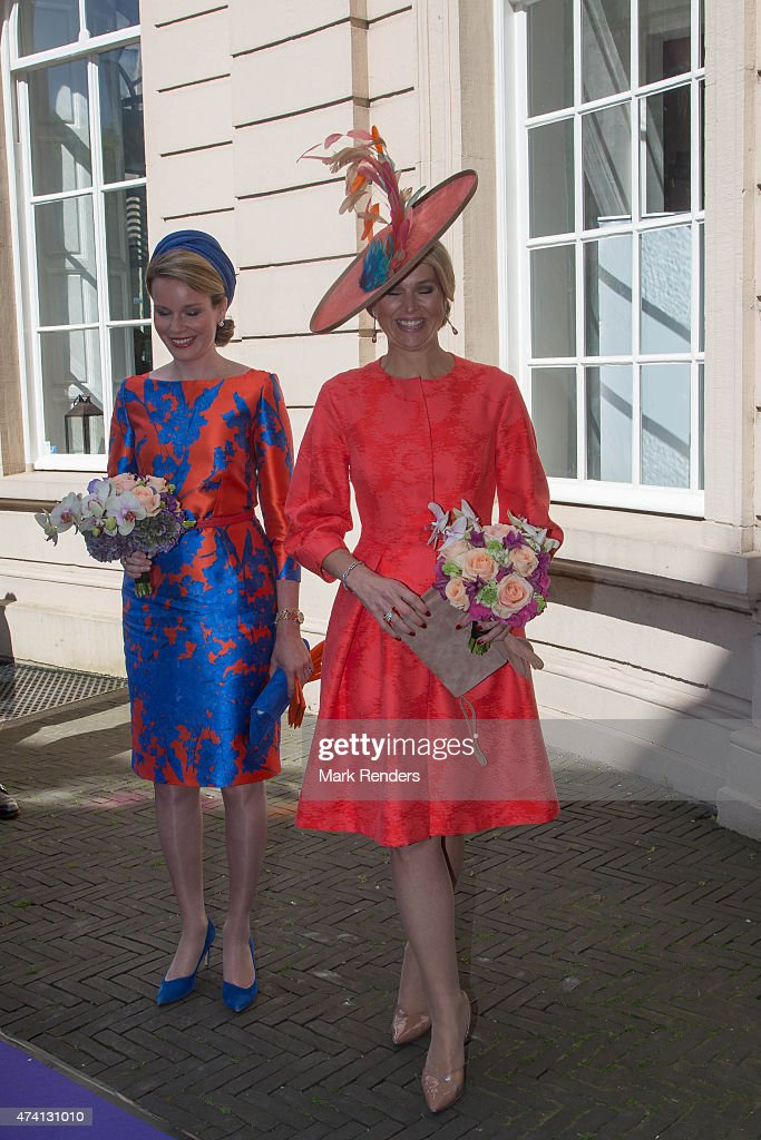 Queen Mathilde of Belgium (l) and Queen Maxima of the Netherlands inaugurate the sculpture festival 'Vormidable' on May 20, 2015 in The Hague, Netherlands.