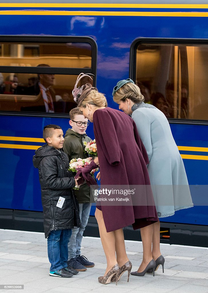 Queen Mathilde of Belgium (R) and Queen Maxima of the Netherlands visit the new Utrecht Central station and travel by Dutch Royal Train on November 30, 2016 in Utrecht, Netherlands.