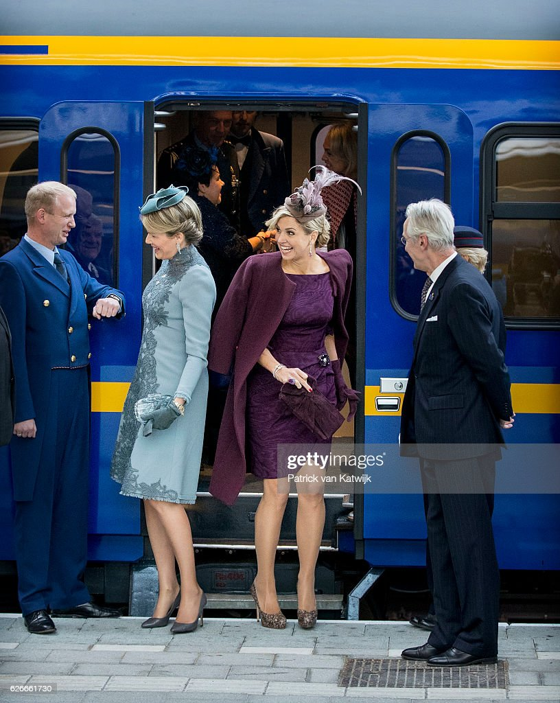 Queen Mathilde of Belgium (L) and Queen Maxima of the Netherlands visit the new Utrecht Central station and travel by Dutch Royal Train on November 30, 2016 in Utrecht, Netherlands.