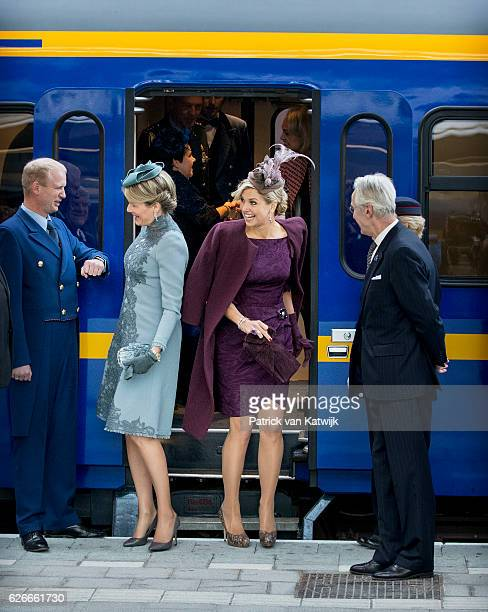 Queen Mathilde of Belgium and Queen Maxima of the Netherlands visit the new Utrecht Central station and travel by Dutch Royal Train on November 30...